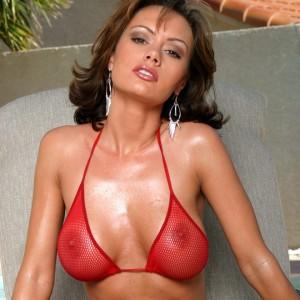 Crissy Moran in a Hot Red Fishnet Bikini