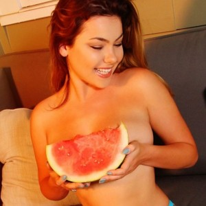 Sexy Instagram Hottie Lex Nai Eating Watermelon Topless