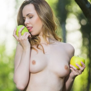 Nasita Eating an Apple in the Woods
